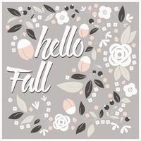 Fall card design with floral frame vector