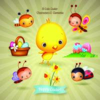 Huit personnages de Pâques mignons et éléments d'illustration