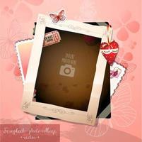 Memories of Romantic Love Single Photo Scrapbook Collage vector