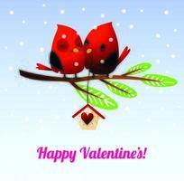 Snuggling Valentine's Day Love Birds on Tree Branch vector