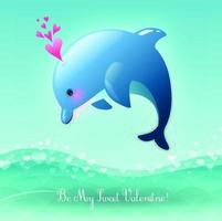 Be My Sweet Valentine's Day Valentine Leaping Dolphin vector