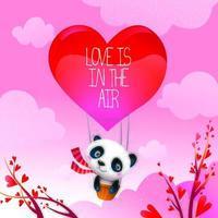 El día de San Valentín, el oso panda comparte amor en globo aerostático vector