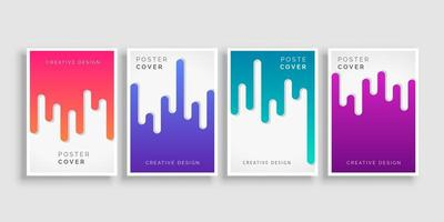 Dripping Colorful Cover Template Set vector