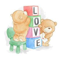 Cartoon bear friends with love blocks