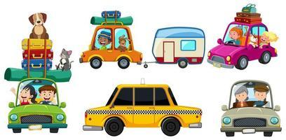 A set of car road trip