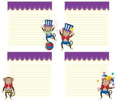 Set of circus monkey note templates