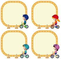 Conjunto de niños montando bicicleta en plantilla de nota vector