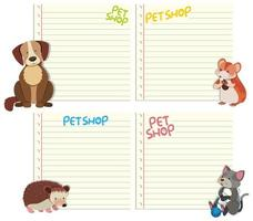 Conjunto de animais no modelo de nota vetor