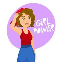 Woman with ''girl power'' message vector