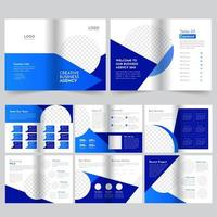 16 page business blue  brochure template vector