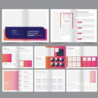 16 page pink and orange gradient Business brochure template vector