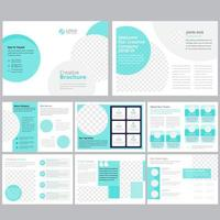 16 page light blue green business brochure template vector
