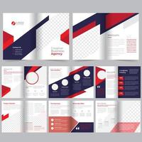 Red  purple 16 page business brochure template vector