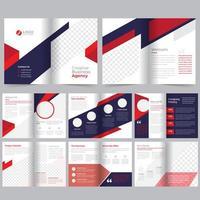Plantilla de folleto comercial rojo púrpura de 16 páginas