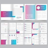 16 Page Blue Pink Gradient Brochure Template vector