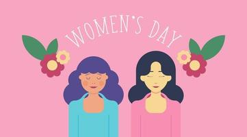 8 March Women's Day Background with Two Women