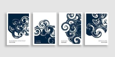 Artistic Swirl Design Brochure Cover Template Set vector