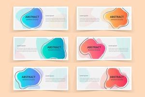 Ensemble de conception de bannières d'art en forme de coup de pinceau abstrait