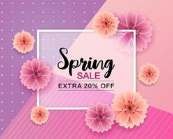Diseño de venta de primavera con marco y flores. vector