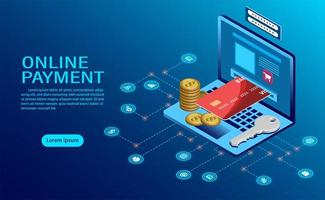 Online payment with computer concept