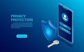 Privacy protection banner concept vector