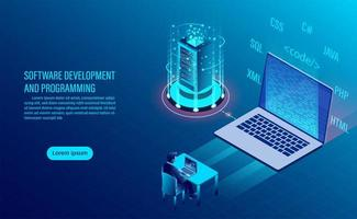 Software development and coding landing page vector