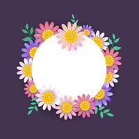 Marco circular de primavera con hermosas flores vector