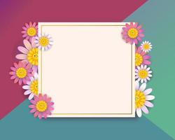 Spring square greeting card design with Flowers vector