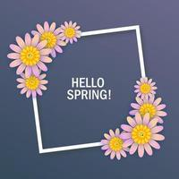 Hello spring white frame and flowers design vector