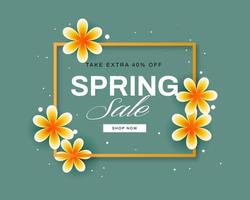 Gold Frame and Flowers spring sale Card vector