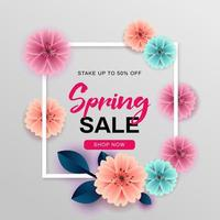 Spring sale design with white frame and flowers
