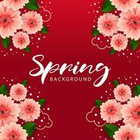 Modern Bright red spring background with flowers vector