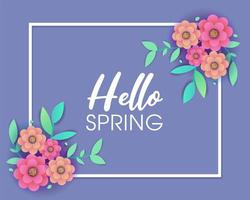 Purple Spring greeting design with frame and flowers vector