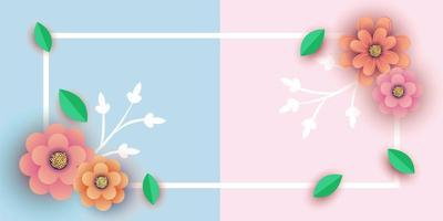 Half and half spring banner design with frame and flowers vector