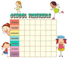 School time table with doodle girls vector