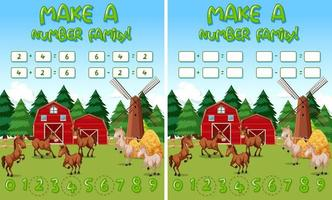 Farm math game template with horses and farm objects