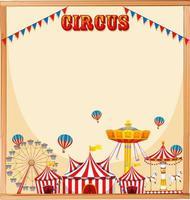 Marco de plantilla de circo en blanco vector