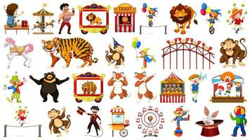 Huge circus collection with mixed animals set vector