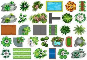 Samling av utomhus-naturobjekt och växtelement