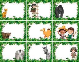Conjunto de marcos de animales vector