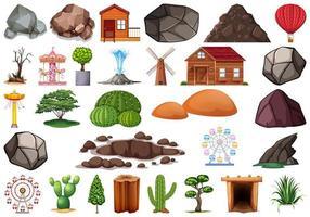 Colección de objetos temáticos de la naturaleza al aire libre.