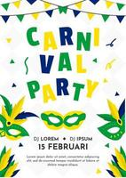 Poster with mask and garland for brazil Carnival 2020