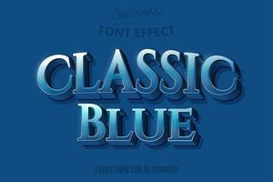 Texto clásico azul Serif, estilo de texto editable vector
