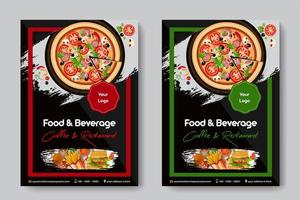 Food Restaurant A4 Size 2 Flyers Red And Green Frames Color vector