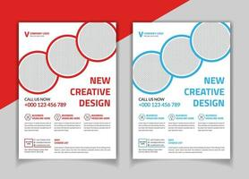 Red and blue corporate flyer template with circle image spaces
