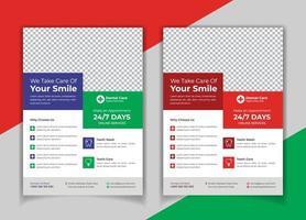 Medical dental flyer template Set vector