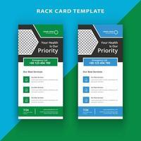 Conjunto de plantillas de tarjeta de rack médica geométrica verde y azul vector