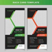 Green and orange hexagon shape rack card template