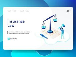 Insurance Law website template vector