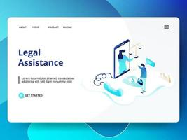 Legal Assistance website template vector